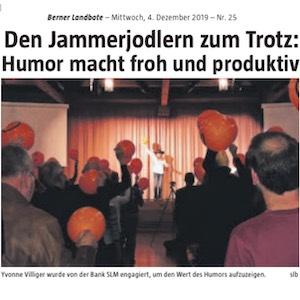 Presseartikel über Yvonne Villiger im Berner Landboten